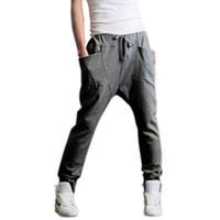 Wholesale Hot Slacks - Wholesale-Drop& Men Jogger Dance Sportwear Baggy Harem Pants Casual Slacks Men\'s Trousers Sweatpants US S M L Hot