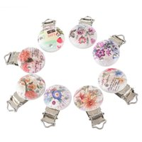 Wholesale Wooden Flower Clip - Wholesale-2*5PCs Round Wooden Baby Pacifier Clip Infant Cute Soother Clasps Multicolor Flower