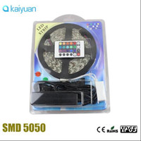 tira llevada paquete rgb al por mayor-2 * conjunto completo Blister Packaging 5M 300LEDs 12V 5050 RGB 60LEDs / m IP65 Tira LED impermeable Tira de LED + 44 / 24Key controlador + adaptador