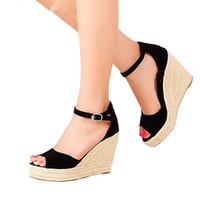 Wholesale Comfortable Wedges Sandal - Fashion Superior Quality Comfortable Bohemian Wedges Women Sandals For Ladies Shoes High Platform Open Toe Plus Size