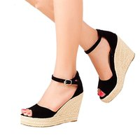 Moda de qualidade superior Comfortable Bohemian Wedges Women Sandals para senhoras Shoes High Platform Open Toe Plus Size
