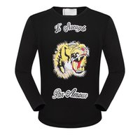 Wholesale Tiger Print Long Shirts Design - 2017 new Menswear G home embroidery snake and tiger letter new casual T-shirt shirt long sleeve cotton shirt Menswear brand design