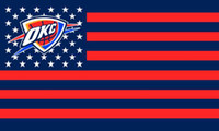 Wholesale Football Teams Flags - OKC Thunder Flag free shipping House Flag 3X5FT Star and Stripe Sport Team Banner Material 100% Polyester two metal grommets