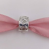 Wholesale Angels Clips - Genuine S925 Sterling Silver Beads Row Of Hearts Clip Fit European Style Brand Bracelets & Necklaces ALE 791978 Gift Jewelry