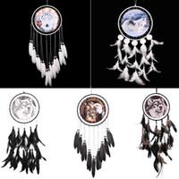 ingrosso arti artigianali-Fatto a mano Dreamcatcher stile indiano Aquila modello lupo Piuma Bead Dream Catcher Casa Soggiorno Hanging Decor Ornament Art Crafts Gift