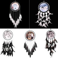 Wholesale Decoration Hanging Beads - Handmade Dreamcatcher Indian Style Eagle Wolf Pattern Feather Bead Dream Catcher Home Living Room Hanging Decor Ornament Art Crafts Gift