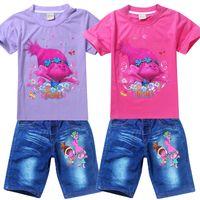 Wholesale Red Top Denim Shorts - Children summer outfits Trolls printed baby girls outwear short sleeve T-shirt top tees+denim shorts kids cowboy suits