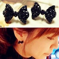 Wholesale Ear Stud Butterfly - New hot Fashion Simple Vintage Metal Black Butterfly Bow stud earrings lady ear jewelry 2015 for women Free shipping