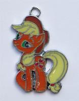 Wholesale Wholesale Pony Charm - New Mixed 50pcs Cartoon Rainbow Pony 5Color Enamel Metal Charm Pendants DIY Jewelry Making Mobile Phone Accessorie