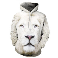 Wholesale Loose Fitting Coats - Wholesale-YNM white lion Hoodie 3d print animal men women sweatshirts Front Pocket Loose Fit Drawstring coat all over print jumper jersey