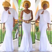 damas vestidos largos arabes al por mayor-2017 Vestidos de Noche Blancos Nigerianos con Chaqueta de Dama Africana Vestidos de Fiesta Largos formales vestido de noche Por Encargo Vestido de Ocasión Árabe