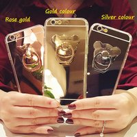 Wholesale Electroplating Battery - For iphone 7 mirror phone cases cartoon bear Finger Ring Holder electroplating back cover shell for iphone 5S 5E 6S 7 Plus mobile phone case