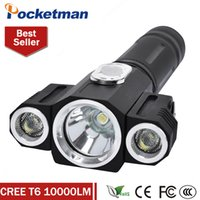 Wholesale Torch Led High Quality Diving - High Quality Tactical 10000 Lumen 3 LEDs Rotating CREE T6+2*XPE LED Flashlight Torch Light 5 Modes 18650 Hunting