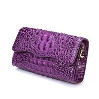 Wholesale Aligator Leather - 2017 New Women Aligator Designer Flap Messenger Crossbody Genuine Leather Bags Single Shoulder Handbag Flap Chains Bag Clutch Q0207