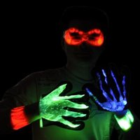 Wholesale Christmas Glove Styles - 3 Styles Christmas Halloween Fluorescence Gloves Luminous Stage Performance Gloves Children's Mittens 2pcs pair CCA7263 100pairs