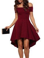 2017 Sommer Frauen elegante Cocktail Party Kleider Slash Neck aus Schulter Skater Kleid formale High Low Kleider Vestidos B6305T