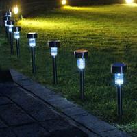 lampe à gazon en acier inoxydable achat en gros de-Lampe solaire extérieure en acier inoxydable pour éclairage extérieur solaire de jardin à énergie solaire pour la voie extérieure