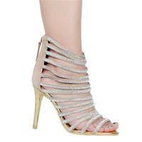 Wholesale euro style shoes online - Kolnoo Womens Fashion Handmade Euro Style Rhinstone Deco Zip Closure High Heel Sandals Shoes Nude XD177