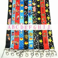 Wholesale Super Model Phone - Newest 50pcs lot Design Super Mario Neck Straps Model Mix Colors Mario Schoolcard Lanyard Toy MP3 4 cell phone  Neck Strap Lanyard