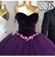 Wholesale Brown Ball Gown Tulle Prom - 2017 Real Photo Arabic Purple Velvet Ball Gown Evening Dress Couture Handmade Flower Princess Formal Prom Dresses Robe De Soiree