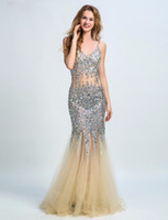 Wholesale Straps Party - Sexy Dimond Party Dress Mermaid Spaghetti V Neck Illusion Backless Criss Cross Straps Sequin Evening Dress