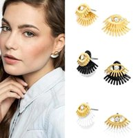 Wholesale Wholesale Earring Jacket - Charming Eyes Stud Earrings For women Girls Hot Natural Crystal Ear Jacket Jewelry Earring Accessory Gift Y3