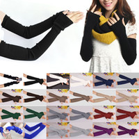 Wholesale Cheap Ladies Mittens - Wholesale- Hot New 40cm Winter Women Ladies Girl Long Cashmere Blend Gloves Arm Sleeve Warmers Mittens Wrist Arm Warmers Mittens Cheap Z2