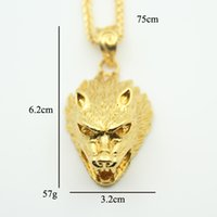 Wholesale Wolf Pendant Necklace Women - Hip Hop Wolf Head chain Necklace Men's fashion pendent Jewelry for men women gift High Quality