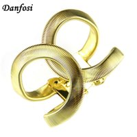 Atacado- Danfosi Fashion Designer CC Jóias Elegent Alloy Wide Spring Bracelet Bracelet Bangles Declaração Jóias Fashion Bangle For Women