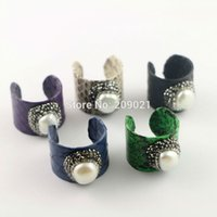 Wholesale Gold Plated Freshwater Pearl Ring - Fashion New 6Pcs Natural Freshwater Pearl Ring, Snakeskin Rings, Pave Crystal Rhinestone Jewelry Finger Druzy Gem Ring