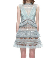 Wholesale Turtleneck Sleeveless Gown - Women's european fashion new design sexy sleeveless mint green color lace crochet floral hollow out turtleneck dress cake layered dress