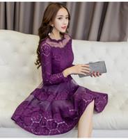 Wholesale Korean Fashion Chiffon - 2017 Autumn Women Lace A-Line Dresses Korean Fashion Sexy Ball Gown Slim Long Sleeve O-Neck Casual Chiffon Dress