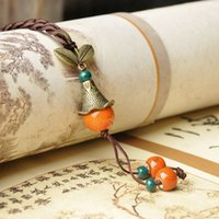 Wholesale Handmade Long Sweaters - Jing de zhen ceramic pendant national wind sweater chain long necklace creative handmade jewelry chinese style crafts