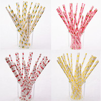 Wholesale Paper Strawberries - Wholesale-25pcs lot Fruit Strawberry Pineapple Paper Drinking Straws Drinking Tubes Party Supplies Creative Drinking Straws