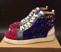 Wholesale Colorful Sneakers For Women - 100% Real Photos Colorful Spike Rivets Studded Red Bottom Casual Shoes for Men and Women,Luxury Brand Red Sole High Top Flats Shoes Sneakers