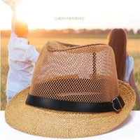 Wholesale Decoration Church - 2017 latest Korean linen cowboy sun hats summer men's fashion mesh hole ventilated anti-uv sun cap with belt buckle decoration
