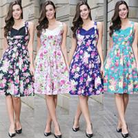Wholesale Pinup Floral Dress - Summer Dress 2017 Vintage Rockabilly Dress Retro Jurken 60s 50s Big Swing Floral Pinup Women Audrey Hepburn Dress W00831