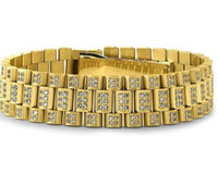 Wholesale President Plate - Gold Fully Iced Out President Watch Band CZ Mens Bracelet