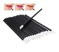 tek kullanımlık kozmetik toptan satış-Yeni Lipbrush Makyaj Fırçalar Tek Kullanımlık Kozmetik Dudak Fırçası Ruj Parlak Değneklerini Aplikatör Makyaj Aracı Fırça SiyahTemizle
