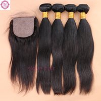 Wholesale Hair Silk Products - Slove Hair Products Peruvian Virgin Hair With Closure Silk Base Closure with Bundles Peruvian Straight Human Weave With Closure