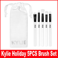 Wholesale Cosmetic Brush Hair - Kylie Brush Set Kylie Limited Edition Holiday Collection brushes set 5pcs Kylie Cosmetic Makeup brushes Christmas kit