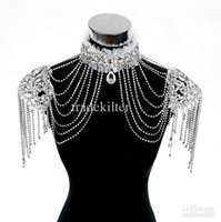 Wholesale Epaulet Gown - New Style Epaulet Jacket Crystal Jewelry Necklace Earrings Sets Wedding Bridal Dresses Dress Gown.