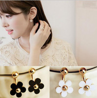 Wholesale Gold Plated Stud Ball Earring - Ladies style small gold ball five flowers petal after the hanging type stud earring wholesale free shipping
