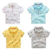 Wholesale Boys V Neck T Shirts - Summer Baby Boys T-Shirts Lapel Pure Cotton Children T-Shirts Kids Topwear Boys Short Sleeves Tops Shirts Kids Summer Clothing Tees
