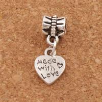 corações de metal para fazer jóias venda por atacado-Feito Com Amor Coração De Metal Big Hole Beads 100 pçs / lote Antique Prata / Bronze Fit Charme Europeu Pulseiras Jóias DIY B319 9.8x23.5mm