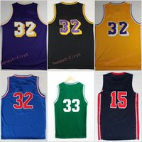 Wholesale Yellow Michigan Basketball Jersey - Retro 32 Johnson Jersey Throwback 1992 USA Dream Team Michigan State Spartans College Jerseys Yellow Purple White With Name Size S-3XL