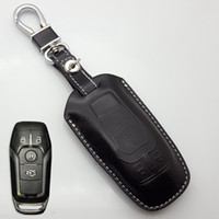 Wholesale Mustang Covers - Leather Key Fob Cover Case for Ford 2013 2014 2015 2016 Fusion Mustang Explorer Taurus F-150 Key Holder Chain Ford Auto Accessories