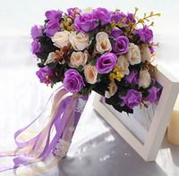 fotoğraflar buket toptan satış-Gül Dantel Buket Düğün Dekoratif Çiçekler Renkli Gelin Buketi Yapay Düğün Buketleri Düğün Fotoğraf Fotoğraf Sahne