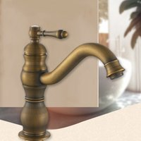 Wholesale Antique Brass Single Handle Faucet - Lavatory Bathroom Faucets Copper Widespread antique brass faucet with Single Handle One Hole for Washroom waterfall wall mount faucet