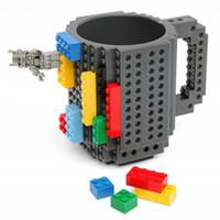 bloque de calidad al por mayor-Asamblea de bricolaje Copa de la personalidad de plástico bloques de construcción Tumbler respetuoso del medio ambiente resistente al calor tazas de café de alta calidad 14 5rh BB